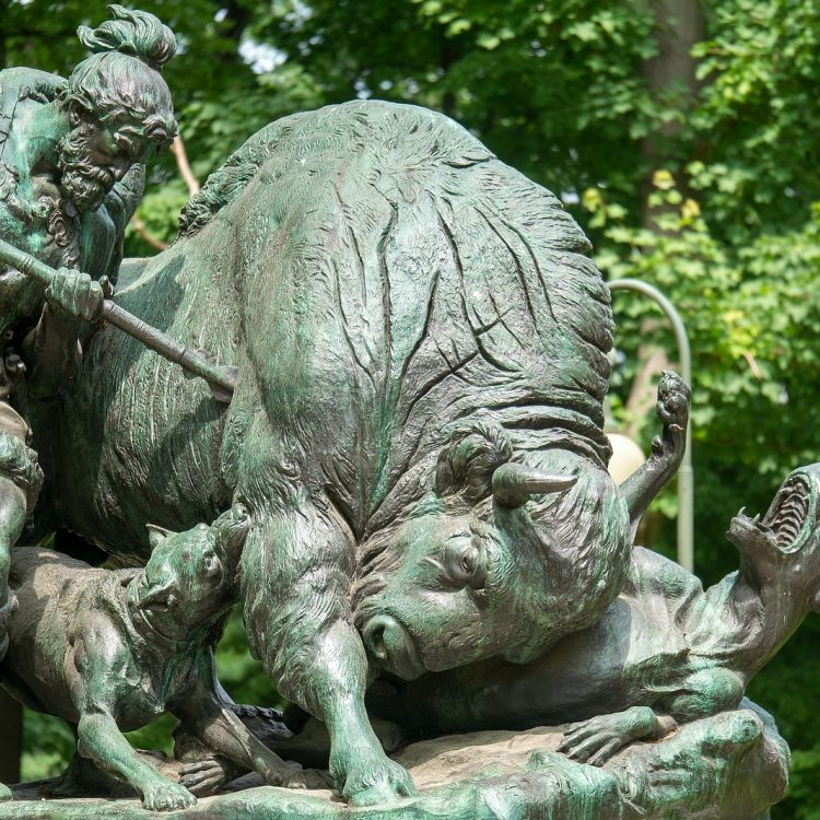 Tiergarten, Altgermanische Wisentjagd von Fritz Schaper (1904)